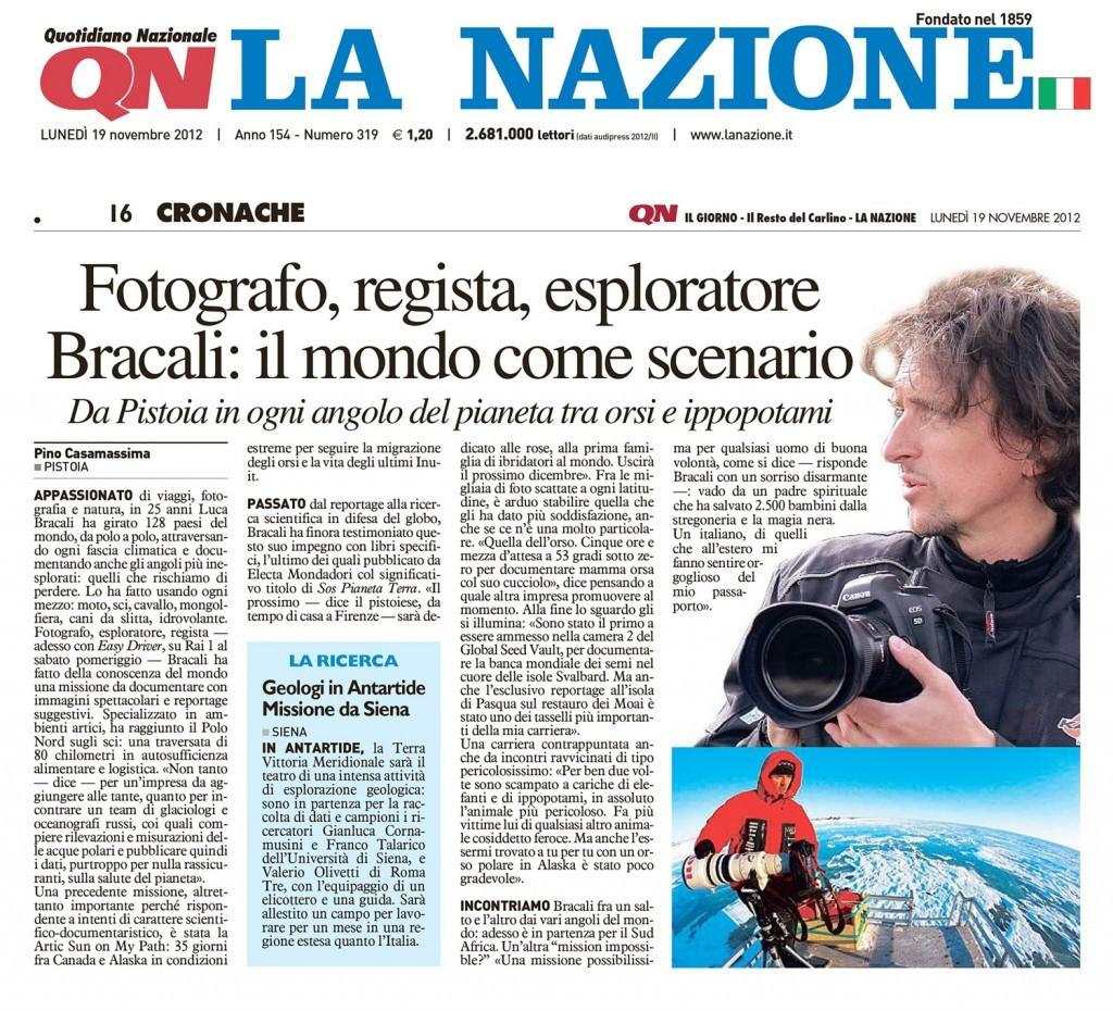 La Nazione 19 Novembre 2012  - Luca Bracali
