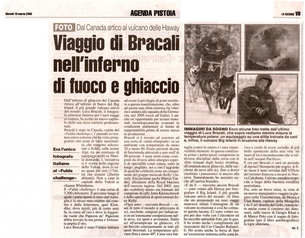 La Nazione 16 Marzo 2006 - Luca Bracali