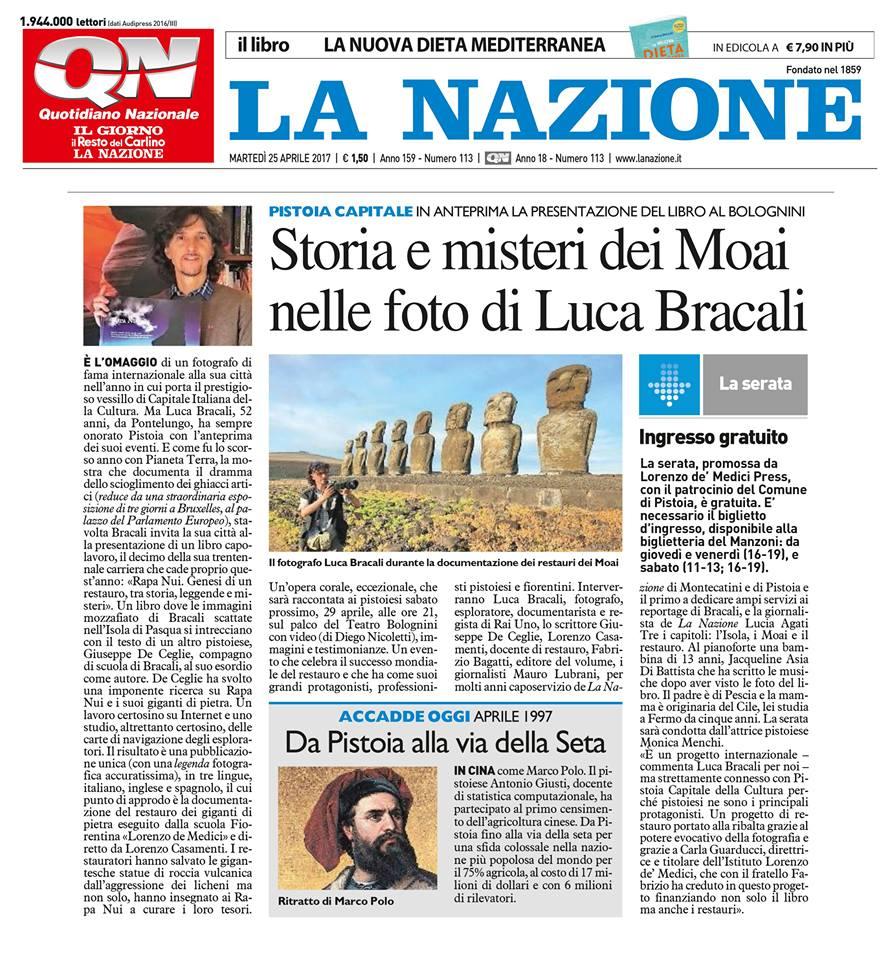La Nazione libro Rapa Nui di Luca Bracali