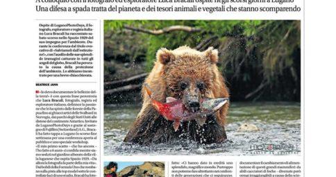Luca Bracali sul Corriere del Ticino