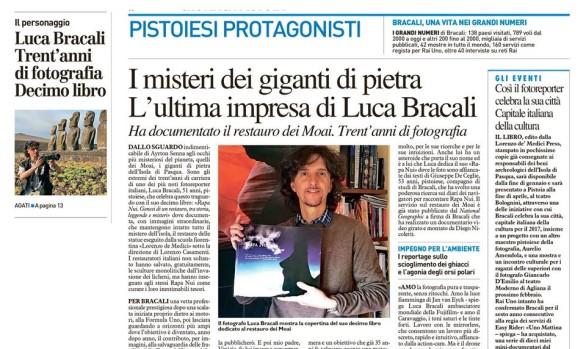 Luca Bracali su QN La Nazione cronaca Pistoia, il Mistero dei giganti di Pietra - Rapa Nui