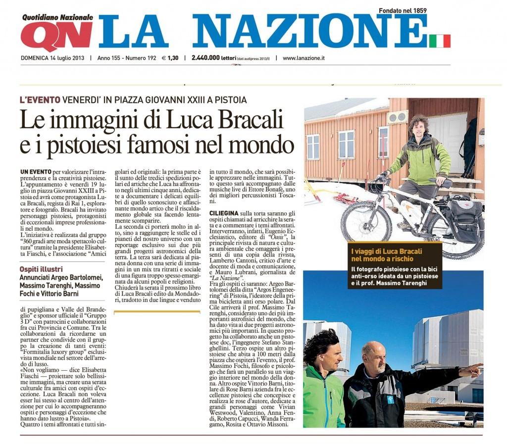La Nazione 14 Luglio 2013 - Luca Bracali