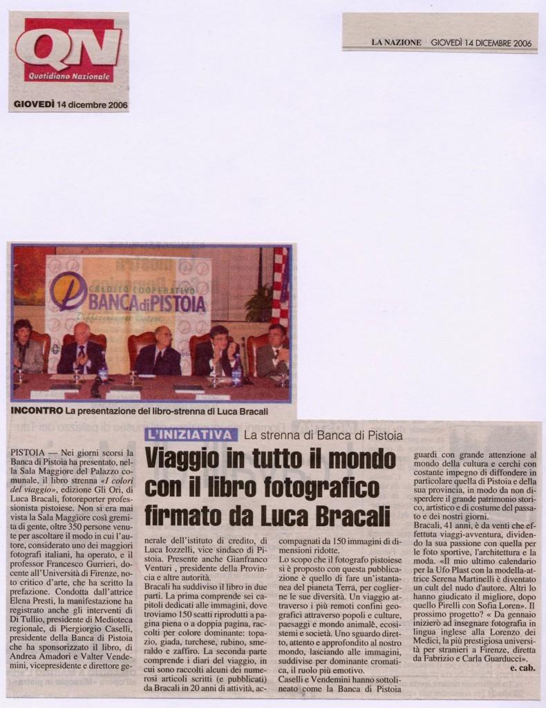 La Nazione 14 Dicembre 2006 - Luca Bracali