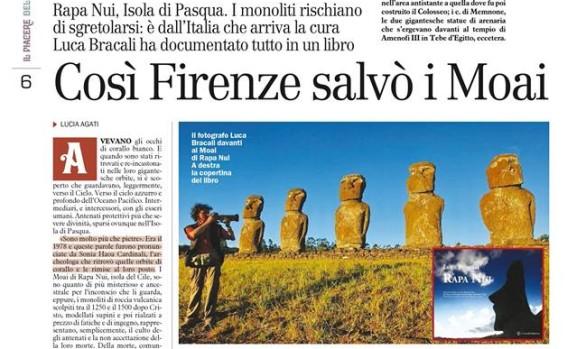 La Nazione - libro Rapa Nui di Luca Bracali - Restauro dei Moai - Lorenzo de Medici Press